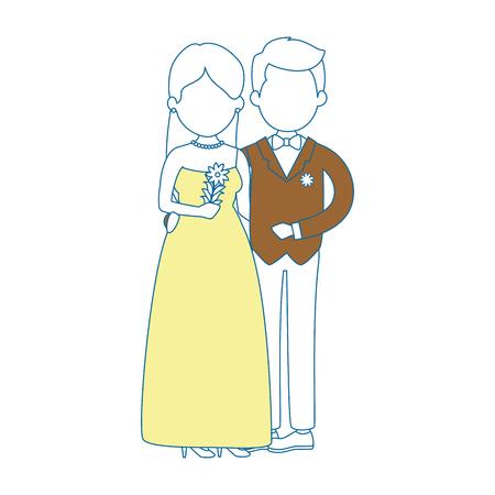 花と結婚したばかりのかわいいカップルブーケベクターイラストデザイン 写真素材 - 85246324