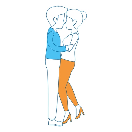 cute couple in love kissing vector illustration design