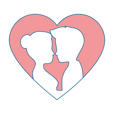 cute couple in love silhouette kissing vector illustration design Reklamní fotografie - 85246332