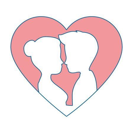 innamorati che si baciano: cute couple in love silhouette kissing vector illustration design