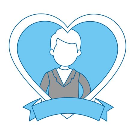 Marido lindo con el corazón ilustración vectorial de diseño Foto de archivo - 85246342