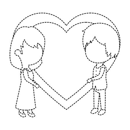 cute couple just married with heart vector illustration design