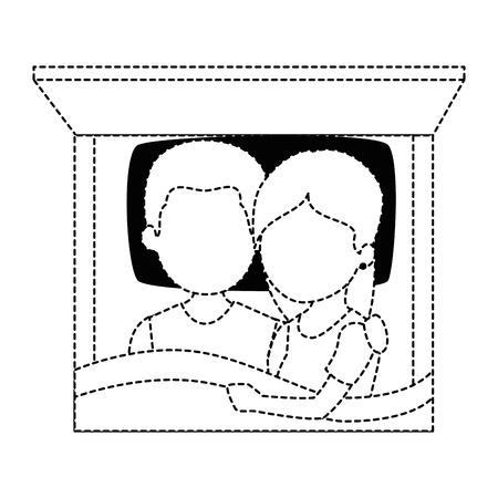 かわいいカップル、ベッドで愛のベクトル イラスト デザイン  イラスト・ベクター素材