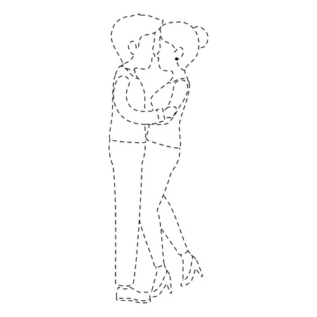 cute couple in love kissing vector illustration design