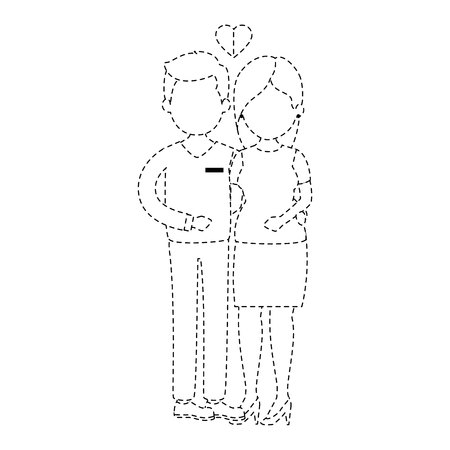 cute couple just married vector illustration design Ilustração