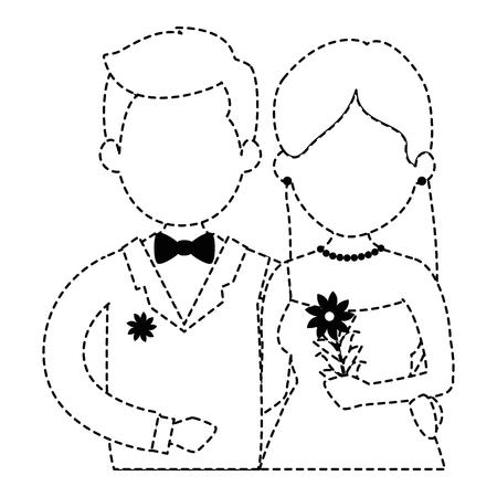 花と結婚したばかりのかわいいカップルブーケベクターイラストデザイン 写真素材 - 85246418