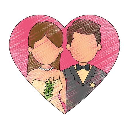 ちょうどハートベクトルイラストデザインと結婚したかわいいカップル