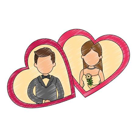 ちょうどハートベクトルイラストデザインと結婚したかわいいカップル 写真素材 - 85246469