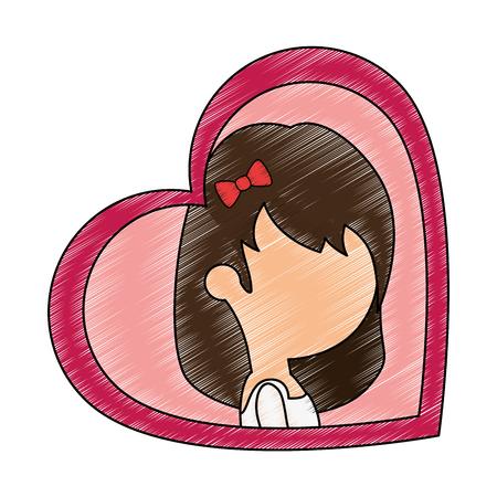 Moglie carina con disegno illustrazione vettoriale cuore Archivio Fotografico - 85246474