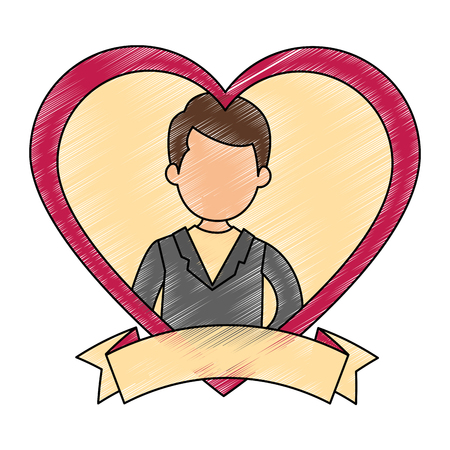 cute husband with heart vector illustration design 向量圖像