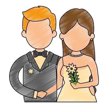 花と結婚したばかりのかわいいカップルブーケベクターイラストデザイン
