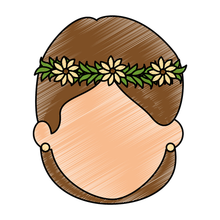 cute wife with flowers avatar character vector illustration design Illustration