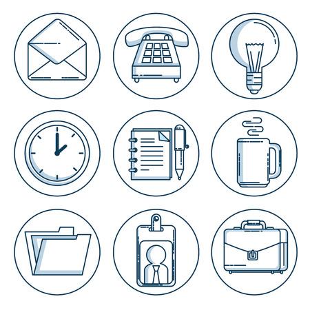 비즈니스 및 사무실 작업 요소 그림자 벡터 일러스트 그래픽 디자인의 집합