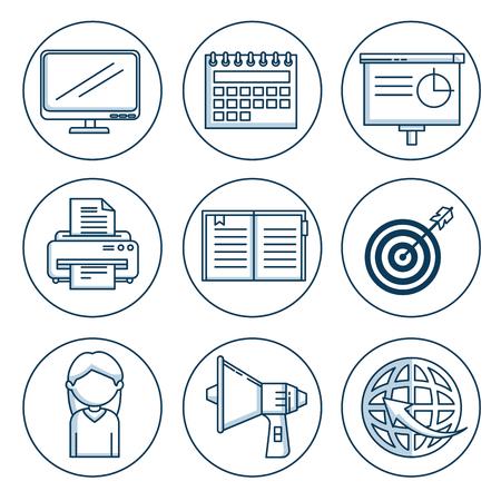 ビジネスとオフィスワーク要素シャドウベクトルイラストグラフィックデザインのセット