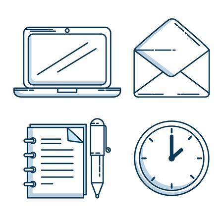 set of business and office work elements shadow vector illustration graphic design Ilustração Vetorial