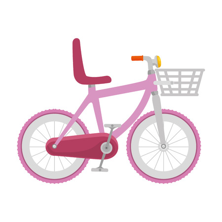 cute bicycle with basket vector illustration design