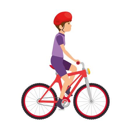 自転車ベクターに乗るサイクリングマンイラストデザイン