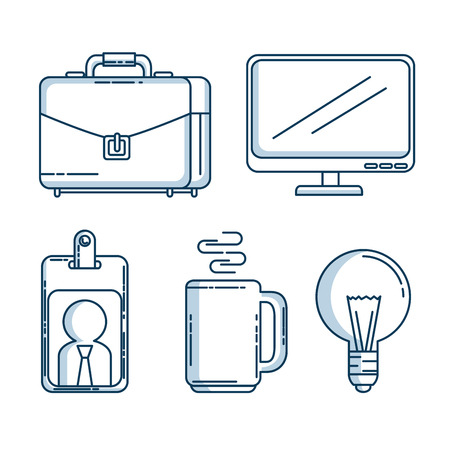 set of business and office work elements shadow vector illustration graphic design