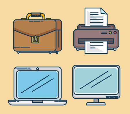 colorful set of business and office work elements vector illustration graphic design Ilustração Vetorial