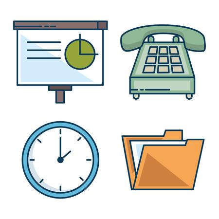 ビジネスとオフィスワーク要素ベクトルイラストグラフィックデザインのカラフルなセット  イラスト・ベクター素材