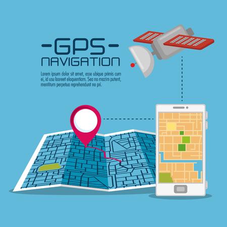 Gps navigation application en ligne vector illustration conception graphique Banque d'images - 85246215