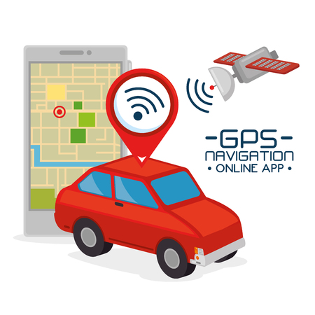 Gps navigation application en ligne vector illustration conception graphique Banque d'images - 85246626