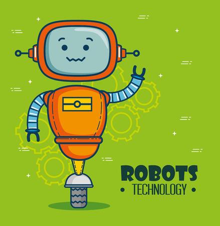 かわいい漫画のロボット技術ベクトルイラストグラフィックデザイン