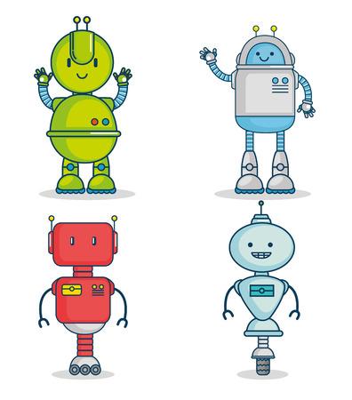 かわいい漫画のロボット技術ベクトルイラストグラフィックデザインのセット