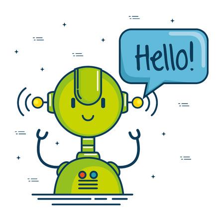 cute cartoon robots technology vector illustration graphic design
