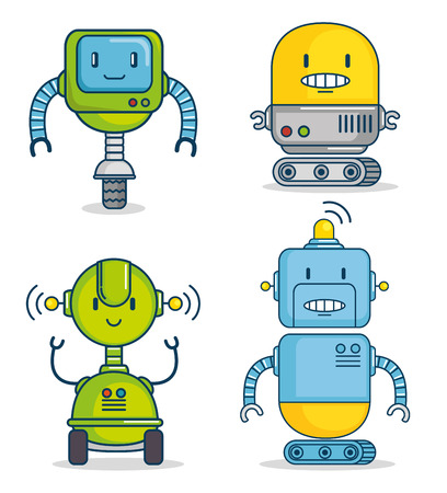 set of cute cartoon robots technology vector illustration graphic design Illustration