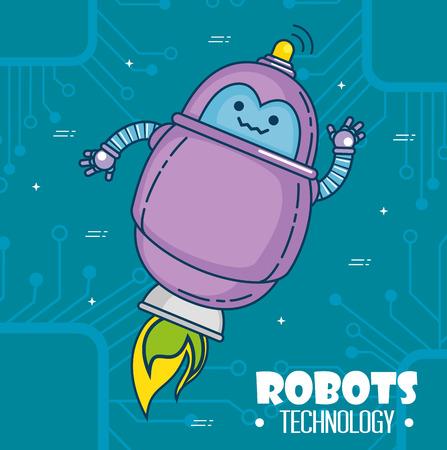 귀여운 만화 로봇 기술 벡터 일러스트 그래픽 디자인