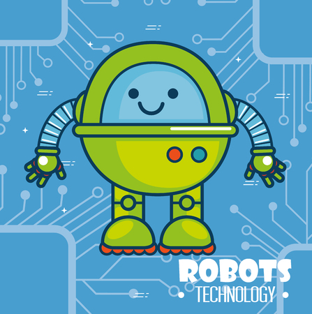 cute cartoon robots technology vector illustration graphic design