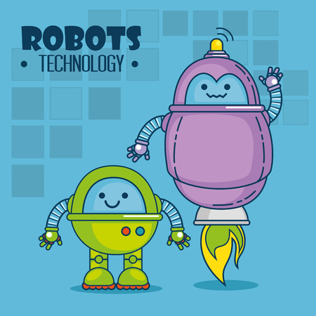 cute cartoon robots technology vector illustration graphic design Фото со стока - 85246655