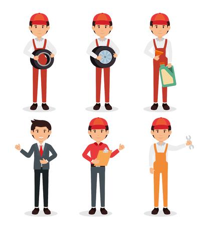 auto mechanic cartoon service vector illustration graphic design