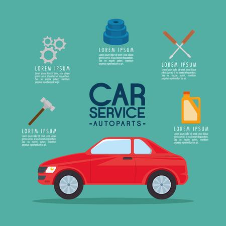 car service autoparts concept vector illustration graphic design