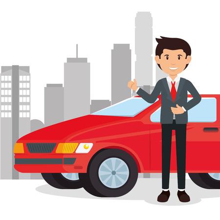 車のセールスマン漫画ベクトルイラストグラフィックデザイン  イラスト・ベクター素材