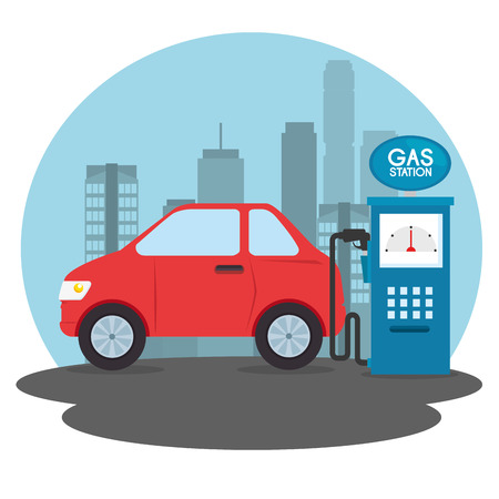 gas station cartoon vector illustration graphic design Ilustrace