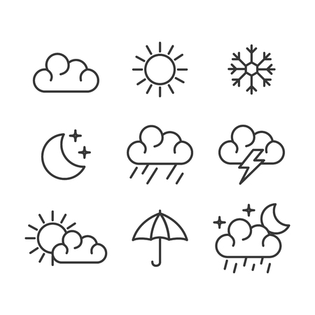 set of weather status icons vector illustration design