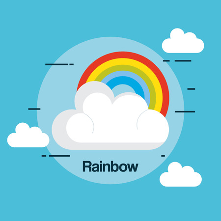 Stato del disegno dell'illustrazione di vettore di tempo dell'arcobaleno Archivio Fotografico - 85246694