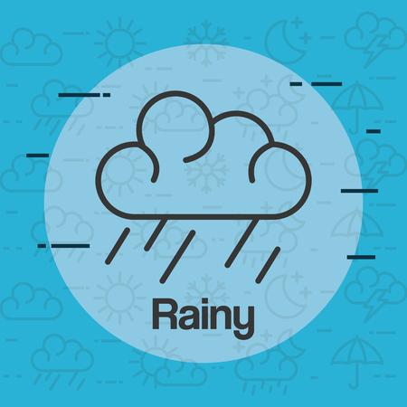 rainy weather status icon vector illustration design 向量圖像