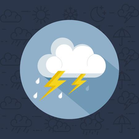 天気嵐雷雨アイコンベクトルイラストデザイン