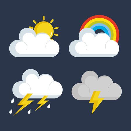 天気の状態アイコン ベクトル イラスト デザインのセット