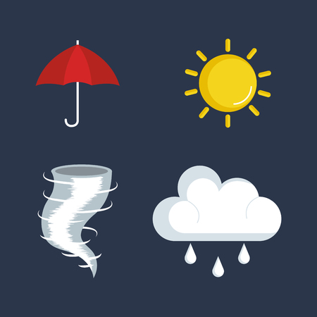 overcast: set of weather status icons vector illustration design