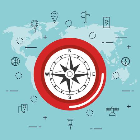 gps navigatie app iconen vector illustratie ontwerp