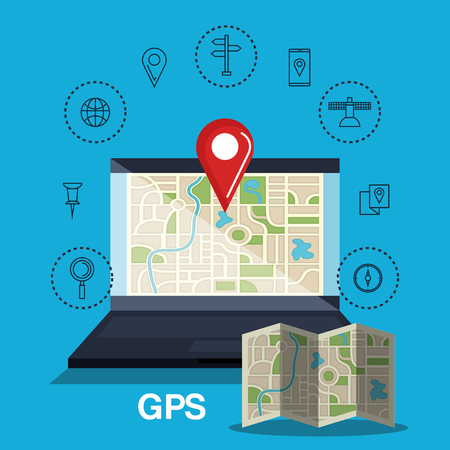 gps device: laptop with gps application vector illustration design