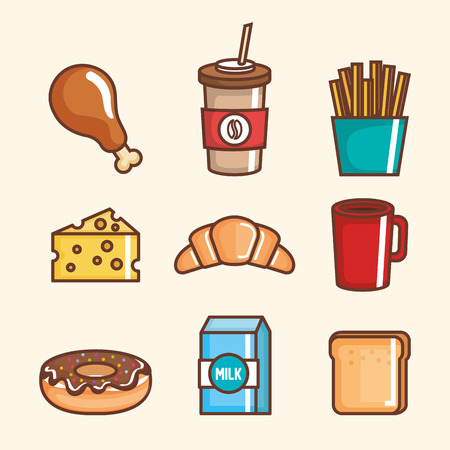 Delicious fast food icons vector illustration design.