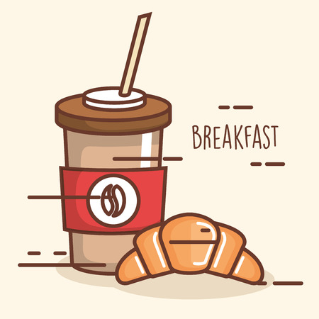 Delicious coffee drink with croissant. Illustration