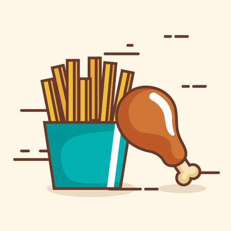 맛있는 치킨 허벅지와 감자 튀김입니다.