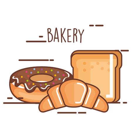맛있는 스위트 빵집 제품. 일러스트