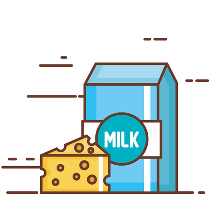 Milk box with cheese vector.